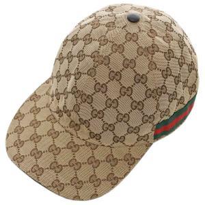 【中古】グッチ 帽子 200035 GUCCI シェリーライン GGキャンバス ベースボールキャップ XL 60サイズ ベージュ YJ3621|kaitsukedoh