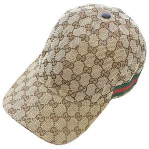 【中古 美品】グッチ 帽子 200035 GUCCI シェリーライン GGキャンバス ベースボールキャップ M 58サイズ ベージュ YJ3622|kaitsukedoh