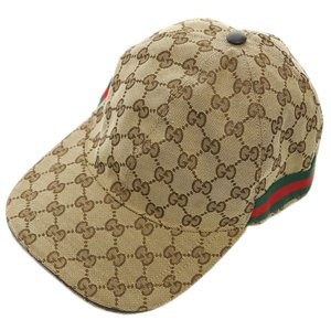 【中古】グッチ 帽子 200035 GUCCI シェリーライン GGキャンバス ベースボールキャップ M 58サイズ ベージュ YJ3623|kaitsukedoh
