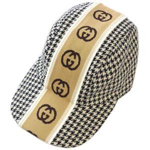 【中古 美品 日本未発売】グッチ 帽子 599067 GUCCI 千鳥格子 ウールxコットン ベースボールキャップ S 57サイズ ブラックxベージュ YJ3716|kaitsukedoh