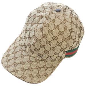 【中古】グッチ 帽子 200035 GUCCI シェリーライン GGキャンバス ベースボールキャップ XL 60サイズ ベージュ YJ3724|kaitsukedoh
