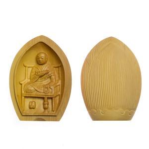【木彫り仏像】 ★柘植蓮型懐中仏・香合仏弘法大師 縦6cm 【ネコポス対応】