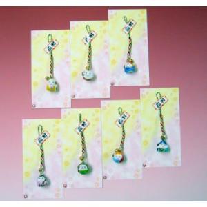 磁器製 七福神お守りストラップ(7個組) 根付 和風 陶器|kaiun-manpei