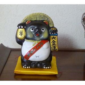 宝くじ大当たり狸 狸貯金箱 陶器製|kaiun-manpei
