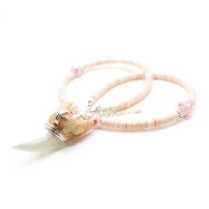アオザメの歯 貝殻シェル 加工ネックレス サメの歯 琉球ホタルガラス(ピンク) レディース|kaiyokobo|02