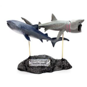 メガマウス&ウバザメ フィギュア Megamouth Shark & Basking shark(フィッシュカービング)※受注生産3ヵ月待ち(代引き不可) kaiyokobo