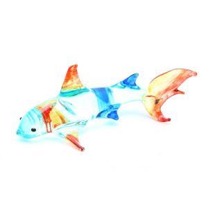 サメ置物 ガラス細工 ミニチュア ブルー|kaiyokobo