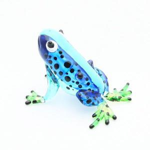 カエル置物 ガラス細工 ミニチュア ブルー|kaiyokobo