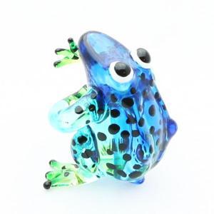 カエル(お座り)置物 ガラス細工 ミニチュア ブルー|kaiyokobo