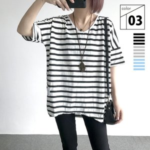 ボーダーTシャツ レディース 半袖 ボーダーシャツ 黒 ボーダー Tシャツ おしゃれ トップス ゆったり 大きいサイズ Vネック 春 夏 ブラック グレー ブルーの画像