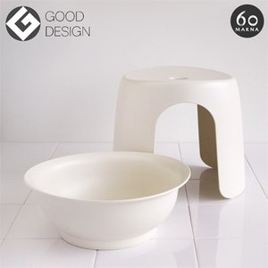 マーナ60 MARNA60 スツール&ウォッシュボウル 風呂イス・洗面器セット 風呂 椅子 洗面セット シンプル バス 椅子 MARNA バスチェアー インテリア|kajitano