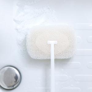 マーナ お風呂の柄付きスポンジ  きれいに暮らす バススポンジ 床洗い スポンジ 白 ホワイト グレー シンプル お風呂 スポンジ おしゃれ|kajitano