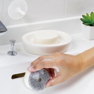マーナ 洗面スポンジ POCO吸盤付き きれいに暮らす 洗面シリーズ お掃除 スポンジ 掃除用具 シンプル おしゃれ 大掃除 吸盤 洗面台|kajitano