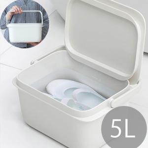 バケツ 5L ホワイト マーナ おしゃれ 蓋付き キッチン 洗面 洗濯 つけ置き コンパクト 収納 スクエア marna|kajitano