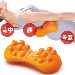 腰痛 クッション マッサージ器 ストレッチ 腰 肩甲骨 背中 ツボ押し 美バランス もまれる腰楽スリムクッション|kajitano