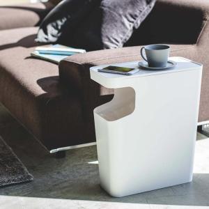 ダストボックス&サイドテーブル タワー  サイドテーブル ソファサイドテーブル ミニテーブル おしゃれ ゴミ箱 ごみ箱 リビング 白 黒 モノトーン|kajitano