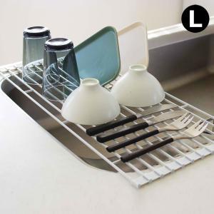 折りたたみ 水切りラック タワー L  水切りラック シンク上 水切りトレー シンク ロール式 折り畳み|kajitano