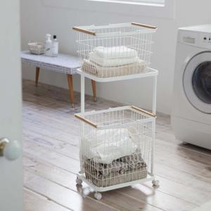 ランドリーバスケット ワゴン トスカ 3点セット 収納 洗濯かご スリム キャスター おしゃれ シンプル 洗濯 カゴ|kajitano