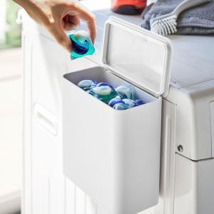 マグネット 洗濯洗剤ボールストッカー タワー ジェルボール 粉洗剤 ケース 収納 洗濯機 洗剤ケース シンプル おしゃれ 省スペース|kajitano