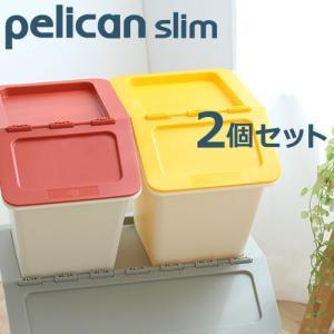 スタックストー ペリカン スリム 2個セット 全8色  収納ボックス フタ付き おしゃれ おもちゃ 収納 スタックストー|kajitano