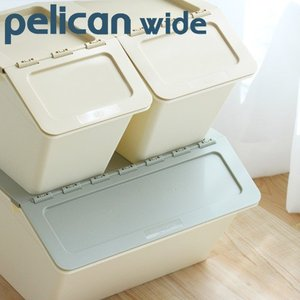 スタックストー ペリカン ワイド 30.4L 全8色  収納ボックス フタ付き 子供部屋 収納 おもちゃ箱|kajitano