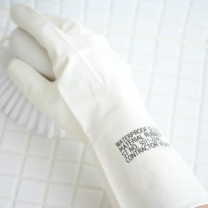 ゴム手袋 おしゃれ VOIRY ラバーグローブ ホワイト キッチン 洗面所 お風呂 トイレ 掃除 ガーデニング 家事 食器洗い シンプル ラバー手袋|kajitano