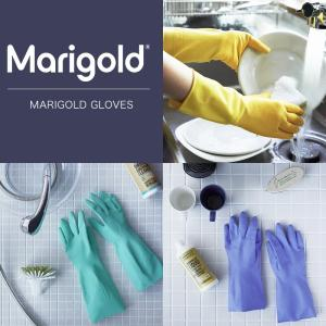 マリーゴールド キッチン用 バスルーム用 敏感肌用  ゴム手袋 手袋 Lサイズ 種類 黄色 みどり ブルー おしゃれ かわいい おすすめ ガーデニング|kajitano