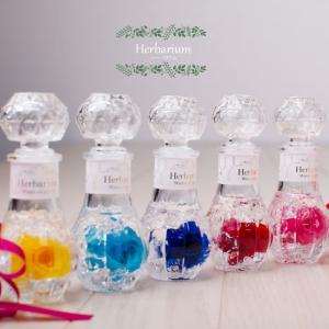 ハーバリウム バラ円形プリザ―ブドフラワーやドライフラワーを液体の入ったビンに漬けて鑑賞する今話題のインテリア雑貨