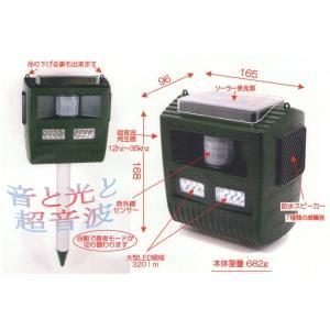 通せんぼくん ソーラー式害獣撃退装置 7種類の威嚇音・超音波・強力LEDフラッシュで撃退|kakashiya