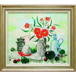 絵画 油絵 花のある静物 (加瀬洋子)  【肉筆】【油絵】【花】【10号】|kakejiku