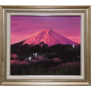 絵画 油絵 富士に鶴 (城正樹)  【肉筆】【油絵】【日本の風景】【10号】|kakejiku