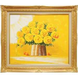 絵画 油絵 黄色いばら (SOO)  【肉筆】【油絵】【花】|kakejiku