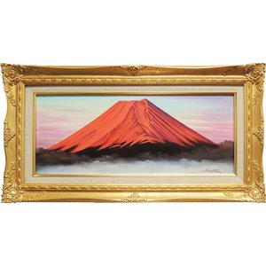 絵画 油絵 赤富士 (森田浩二) WF3号  【肉筆】【油絵】【富士】【横長】|kakejiku