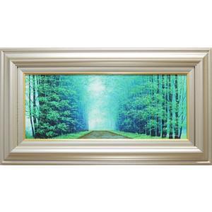 絵画 油絵 朝霧の道 (横山守)  【肉筆】【油絵】【日本の風景】【横長】|kakejiku
