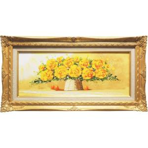 絵画 油絵 黄色いばら (SOO)  【肉筆】【油絵】【花】【横長】|kakejiku