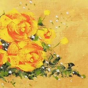 絵画 油絵 黄色いばら (SOO)  【肉筆】【油絵】【花】【横長】|kakejiku|02