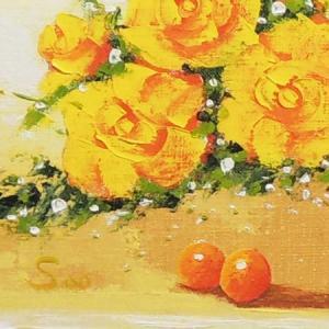 絵画 油絵 黄色いばら (SOO)  【肉筆】【油絵】【花】【横長】|kakejiku|03