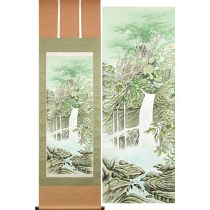 掛け軸 青緑滝山水 (平野秀峰)  【掛軸】【一間床・半間床】【山水】|kakejiku