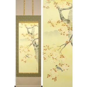 掛け軸 桜に小鳥 (山本晃雲)  【掛軸】【一間床・半間床】【春】|kakejiku