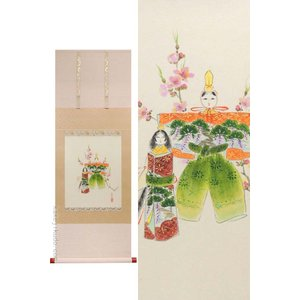 掛け軸 立雛 (西出香鶴)  【掛軸】【半間床】【丈の短い掛軸】【ひな祭り】|kakejiku