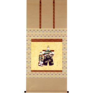 掛け軸 お雛 (梅木信作)  【掛軸】【一間床】【丈の短い掛軸】【ひな祭り】|kakejiku