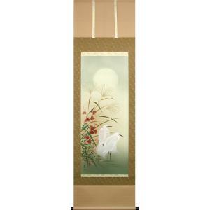 掛け軸 月下白鷺図 (葛谷聖山)  【掛軸】【一間床・半間床】【秋】|kakejiku