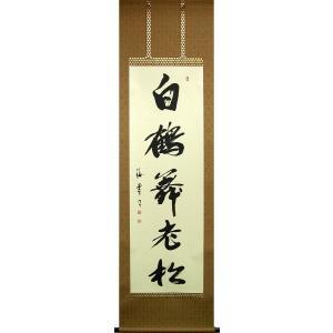 掛け軸 白鶴舞老松 (佐藤海雲)  【掛軸】【一間床・半間床】【松竹梅鶴亀】|kakejiku
