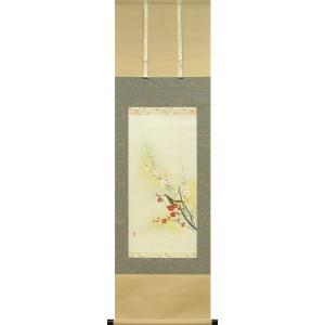 掛け軸 紅白梅に鶯 (南川康夫)  【掛軸】【半間床】【冬】|kakejiku