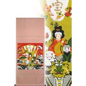 【画 題】七福神(しちふくじん) 【解 説】鶴と亀をお供に、宝船に乗ってやってきたとても可愛らしい七...