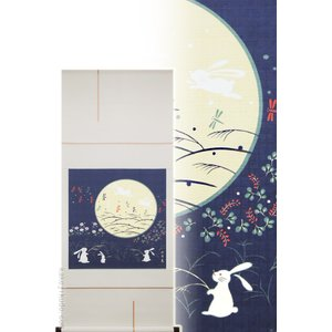 モダン掛け軸 タペストリー お月見うさぎ  【掛軸】【一間床・半間床】【丈の短い掛軸】【モダン】【秋】|kakejiku