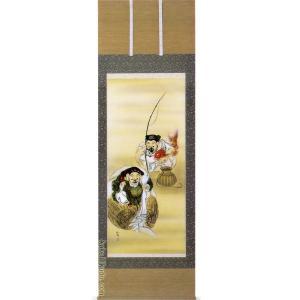 掛け軸 恵比寿大黒 (吉川正彦)  【掛軸】【一間床】【七福神】|kakejiku