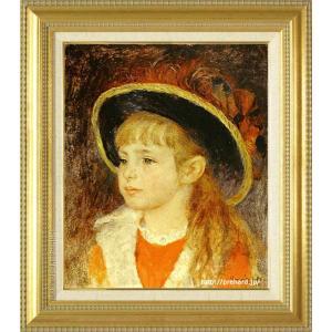 ルノアール 絵画 青い帽子の少女 F8号  【複製】【美術印刷】【世界の名画】【8号】|kakejiku