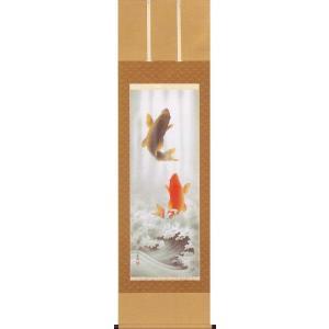 掛け軸 開運昇鯉 (小西春玲)  【掛軸】【一間床・半間床】【鯉】|kakejiku