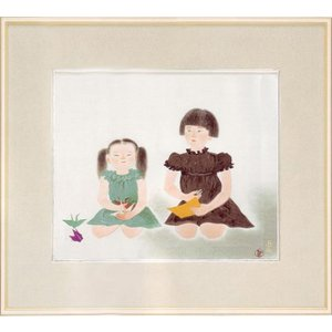 小倉遊亀 絵画 『姉妹』  【複製】【美術印刷】【巨匠】【変型特寸】|kakejiku